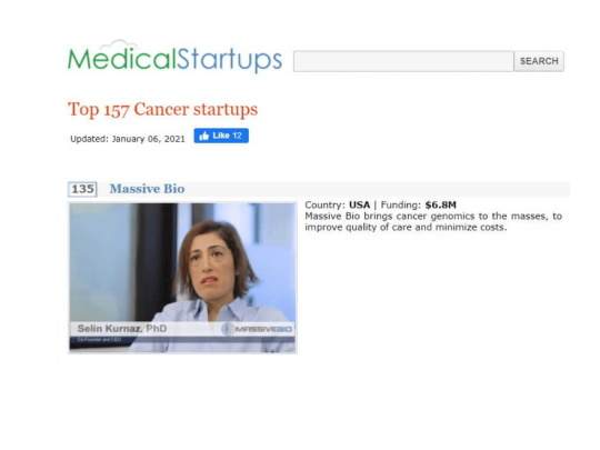 Massive Bio Recognized as a Top Cancer Startup