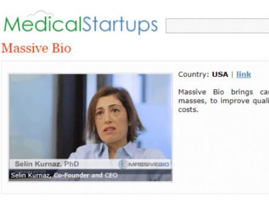 Massive Bio is proud to be recognized by MedicalStartups